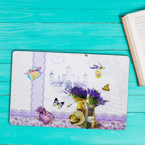 Purple Floral Table Mat Set (Set Of 6)