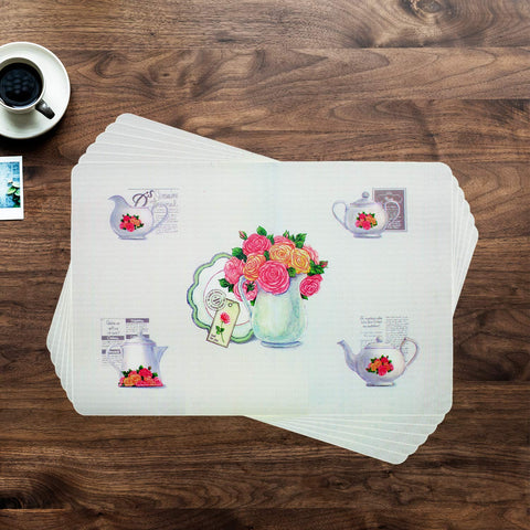 Vintage Flower Vase Table Mat Set (Set Of 6)