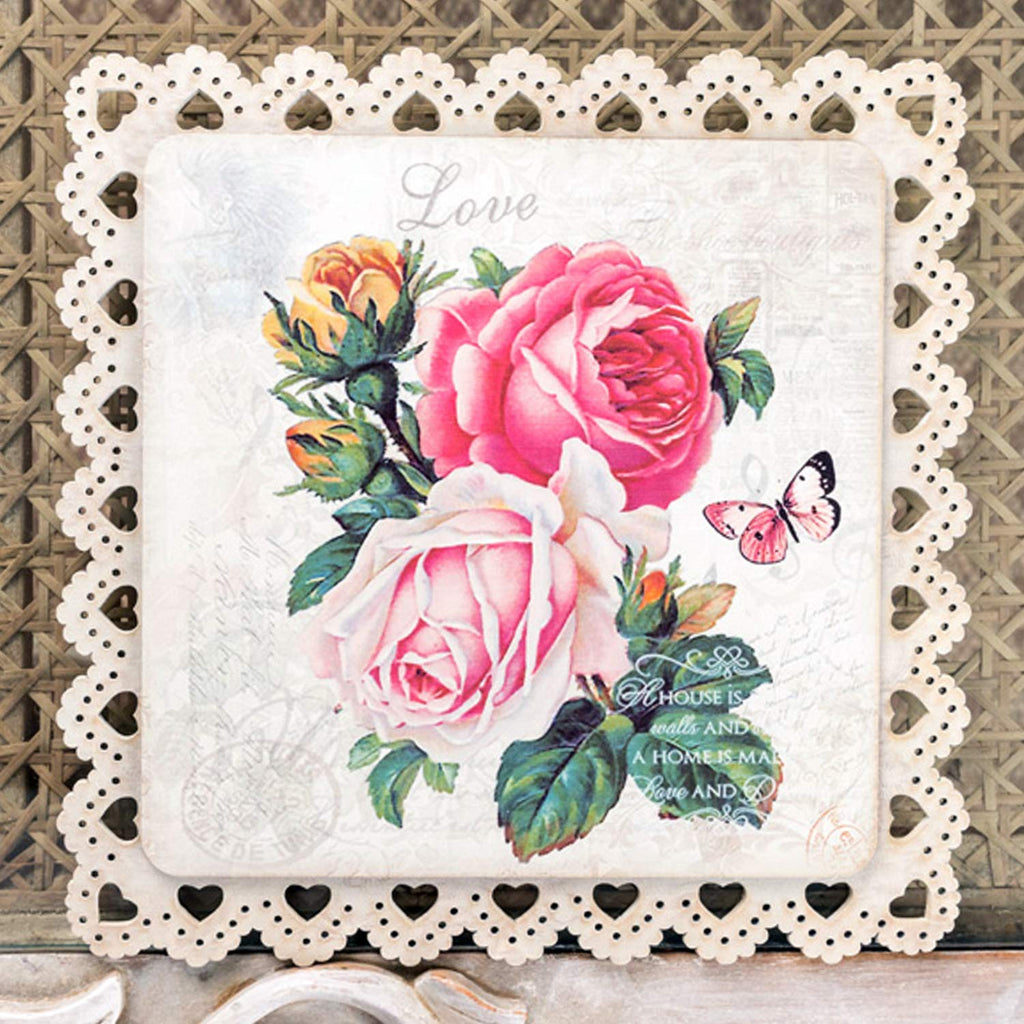 Pink And Red Rose Square Trivet