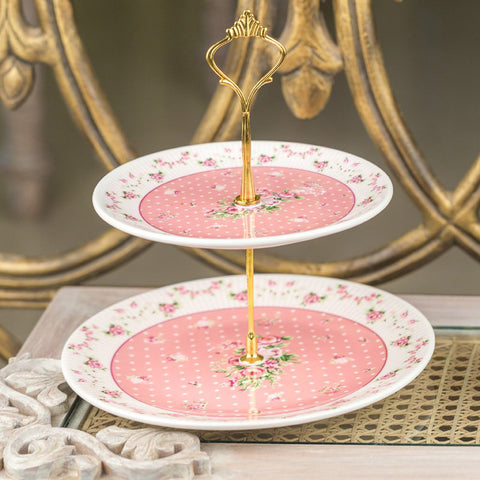 Two Layer Pink Cake Plate