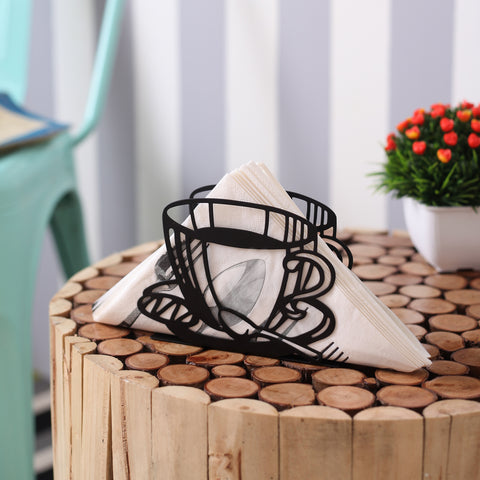 Black Teacup Napkin Organizer