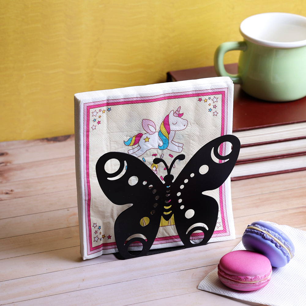 Blooming Butterfly Napkin Organizer - Black