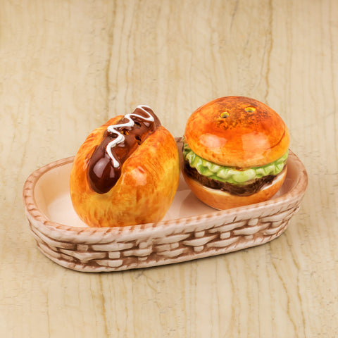 Burger And Hot Dog Design Salt And Pepper Set With Tray
