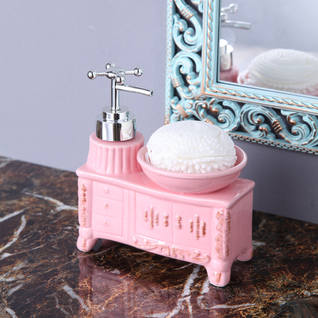 Pink Washbasin Soap Dispenser With Sponge