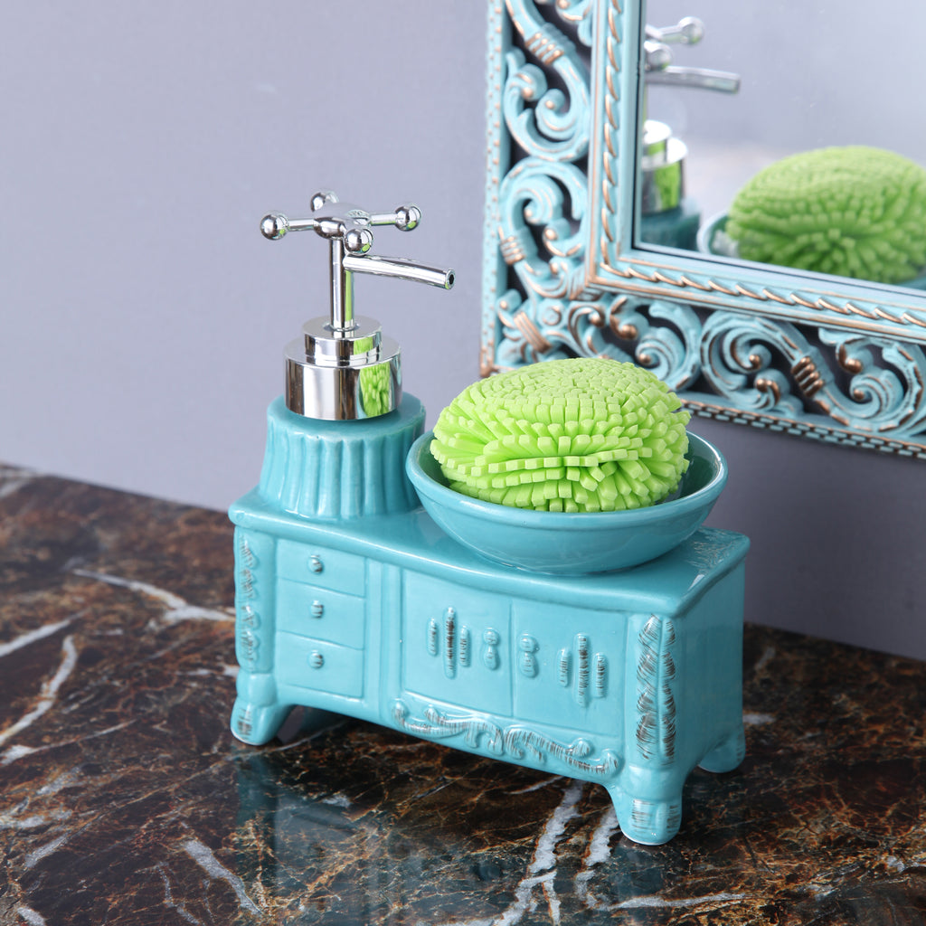 Blue Washbasin Soap Dispenser with sponge