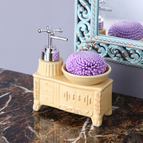 Cream Washbasin Soap Dispenser With Sponge