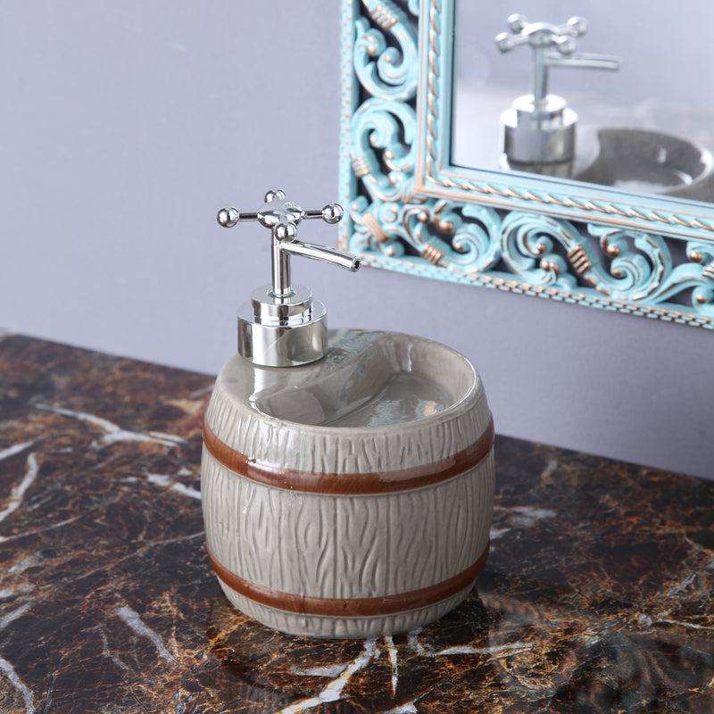 Grey Barrel Soap Dispenser