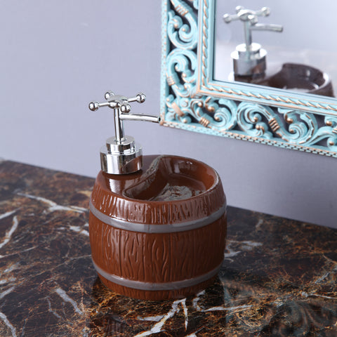 Brown Barrel Soap Dispenser