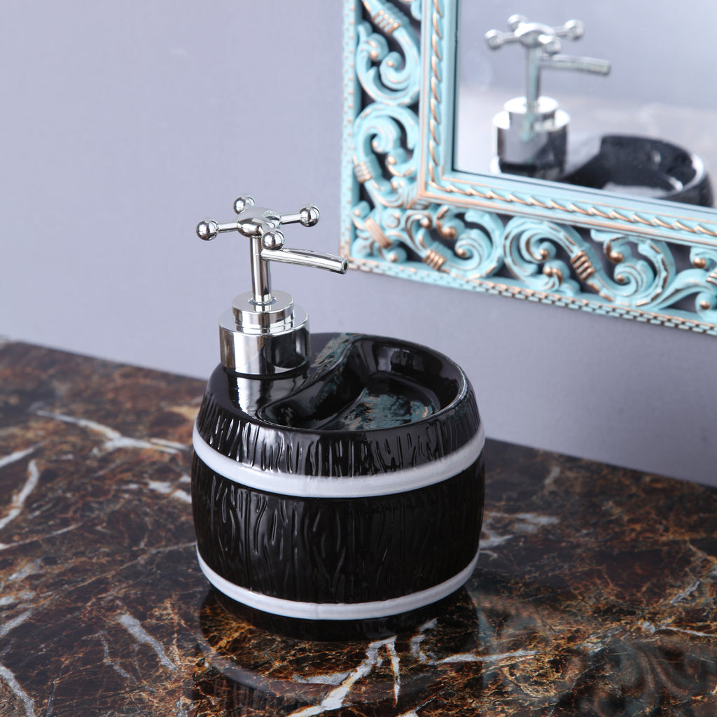 Black Barrel Soap Dispenser