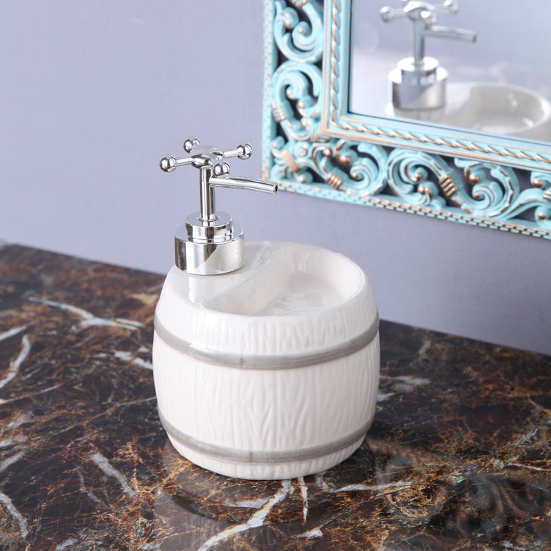 White Barrel Soap Dispenser