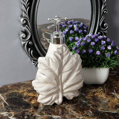 Maple Leaf Liquid Soap Dispenser - Ivory