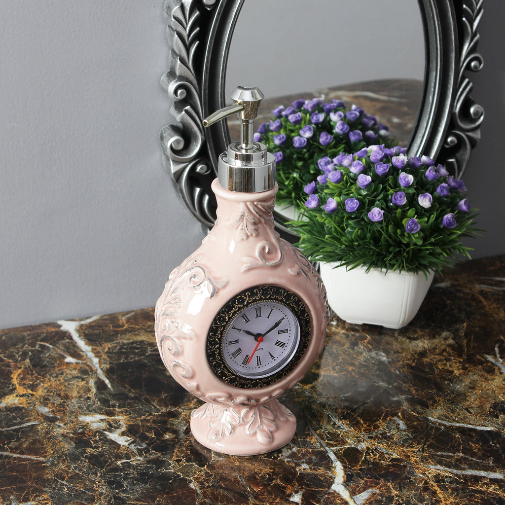 Vintage Clock Liquid Soap Dispenser- Pink
