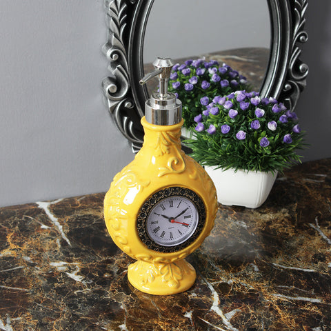 Vintage Clock Liquid Soap Dispenser - Yellow