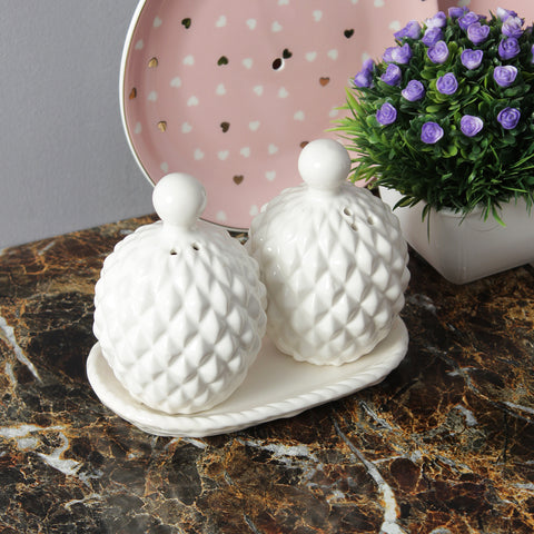 Large Pineapple Salt And Pepper Shaker With Stand