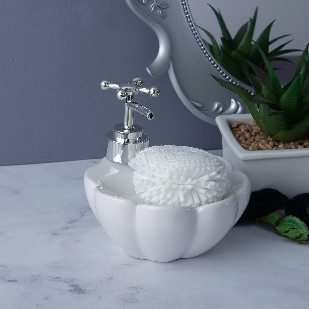 Lotus Soap Dispenser - Milky White