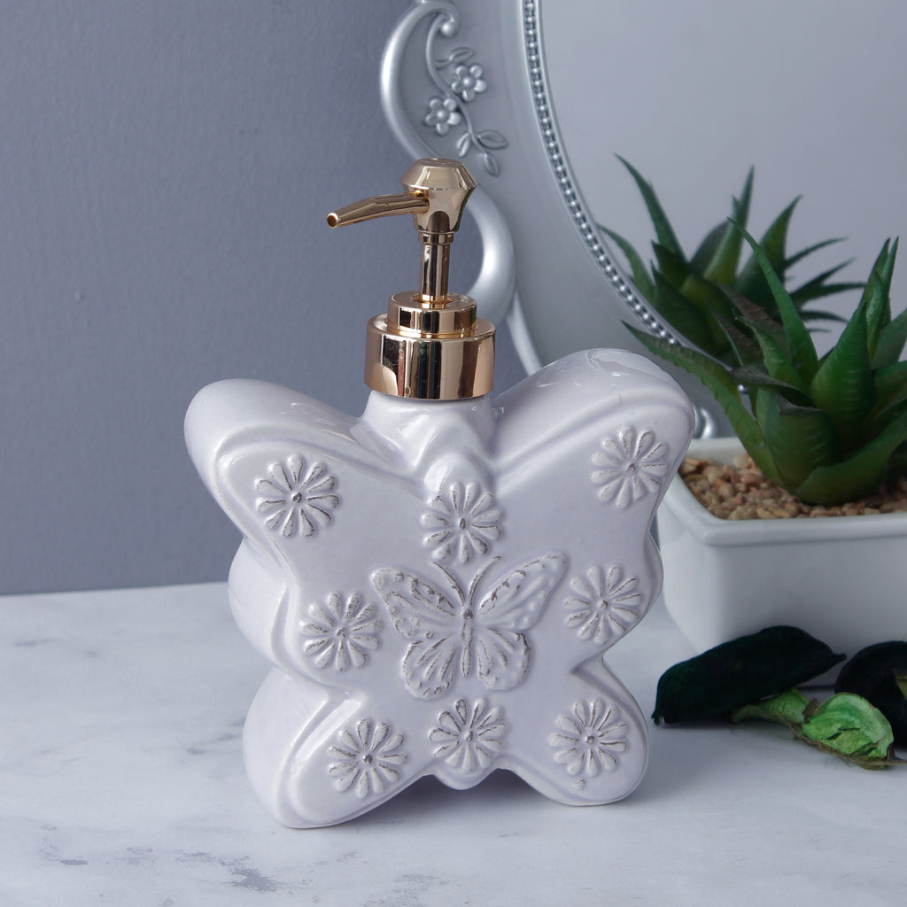 Large Butterfly Soap Dispenser - Milky White