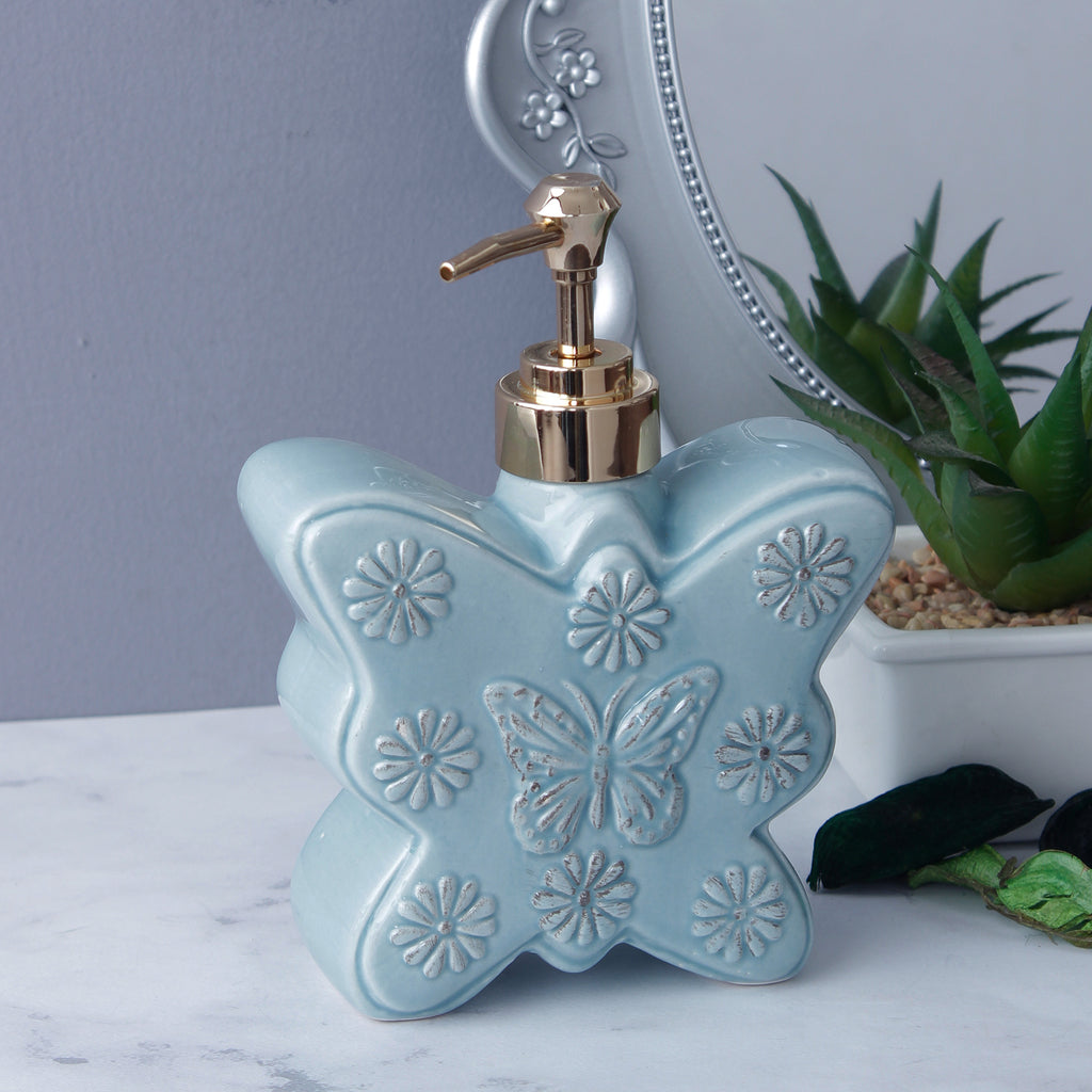 Large Butterfly Soap Dispenser - Turquoise Blue