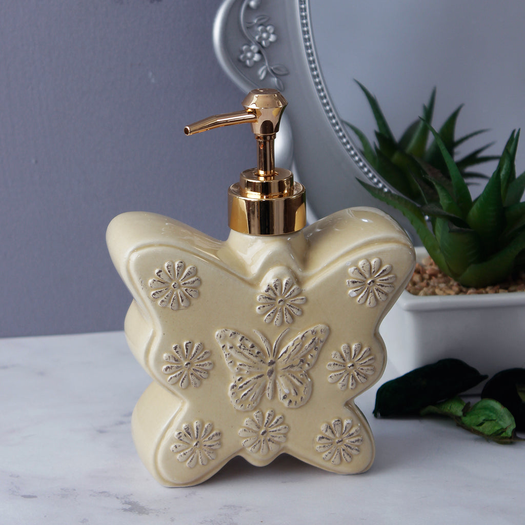 Large Butterfly Soap Dispenser - Creamy Beige