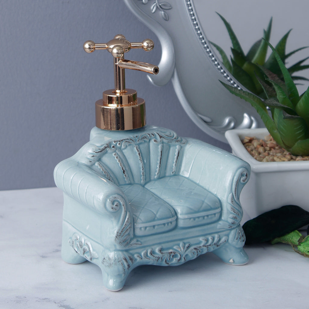 Vintage Sofa Soap Dispenser - Turquoise Blue