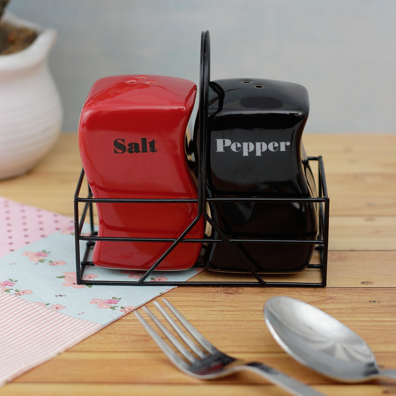 Red and Black Salt and Pepper Set with Iron Basket
