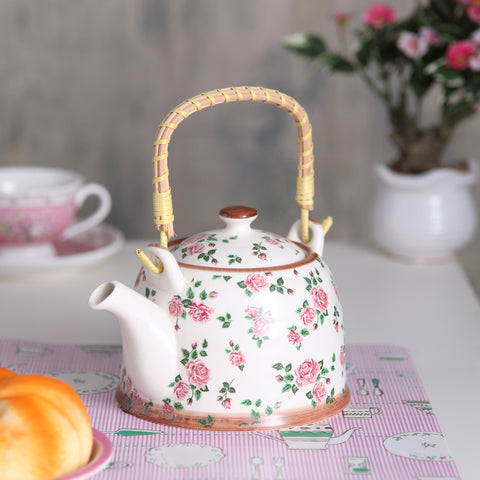 Light pink floral Ceramic Tea Pot
