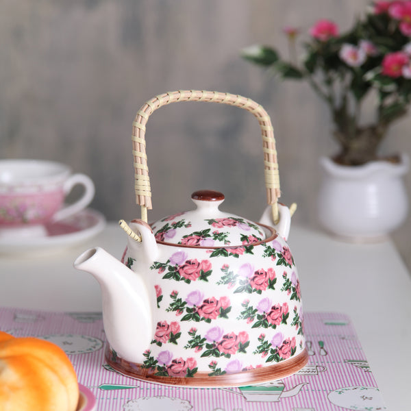 Bright Pink And Green Floral Ceramic Tea Pot