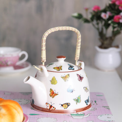 Butterfly print ceramic tea pot
