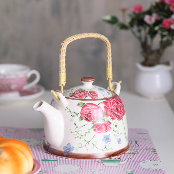 Red Rose Ceramic Tea Pot