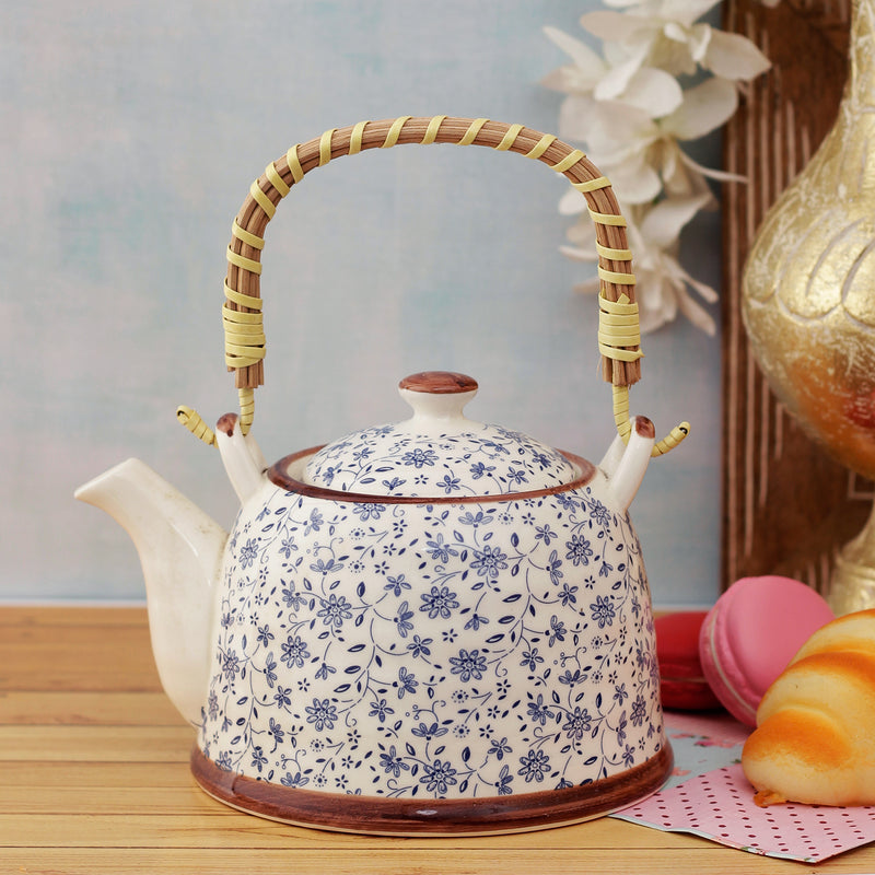 Blue Flora Ceramic Tea Pot