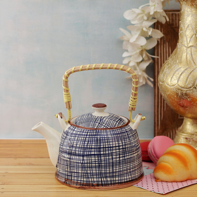 Blue Mesh Ceramic Tea Pot