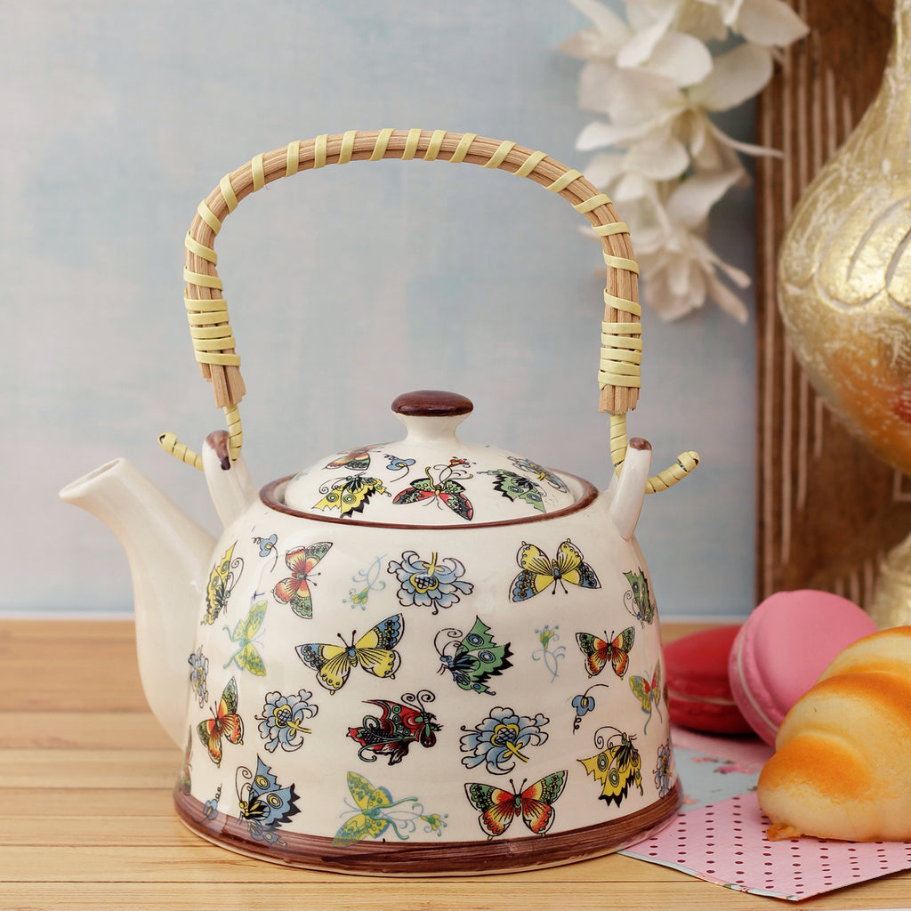 Butterfly Family Ceramic Tea Pot