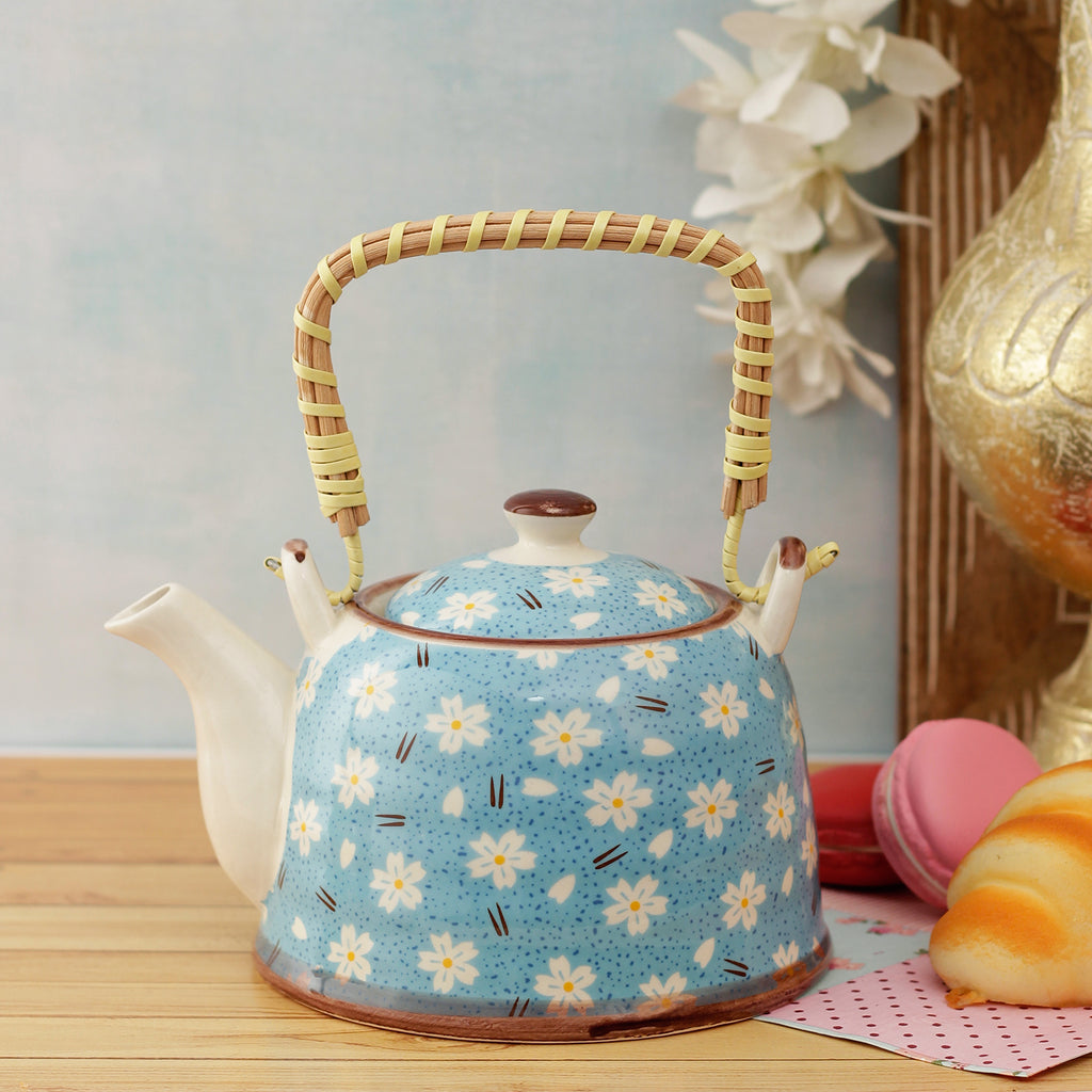 Floral Blue Ceramic Tea Pot