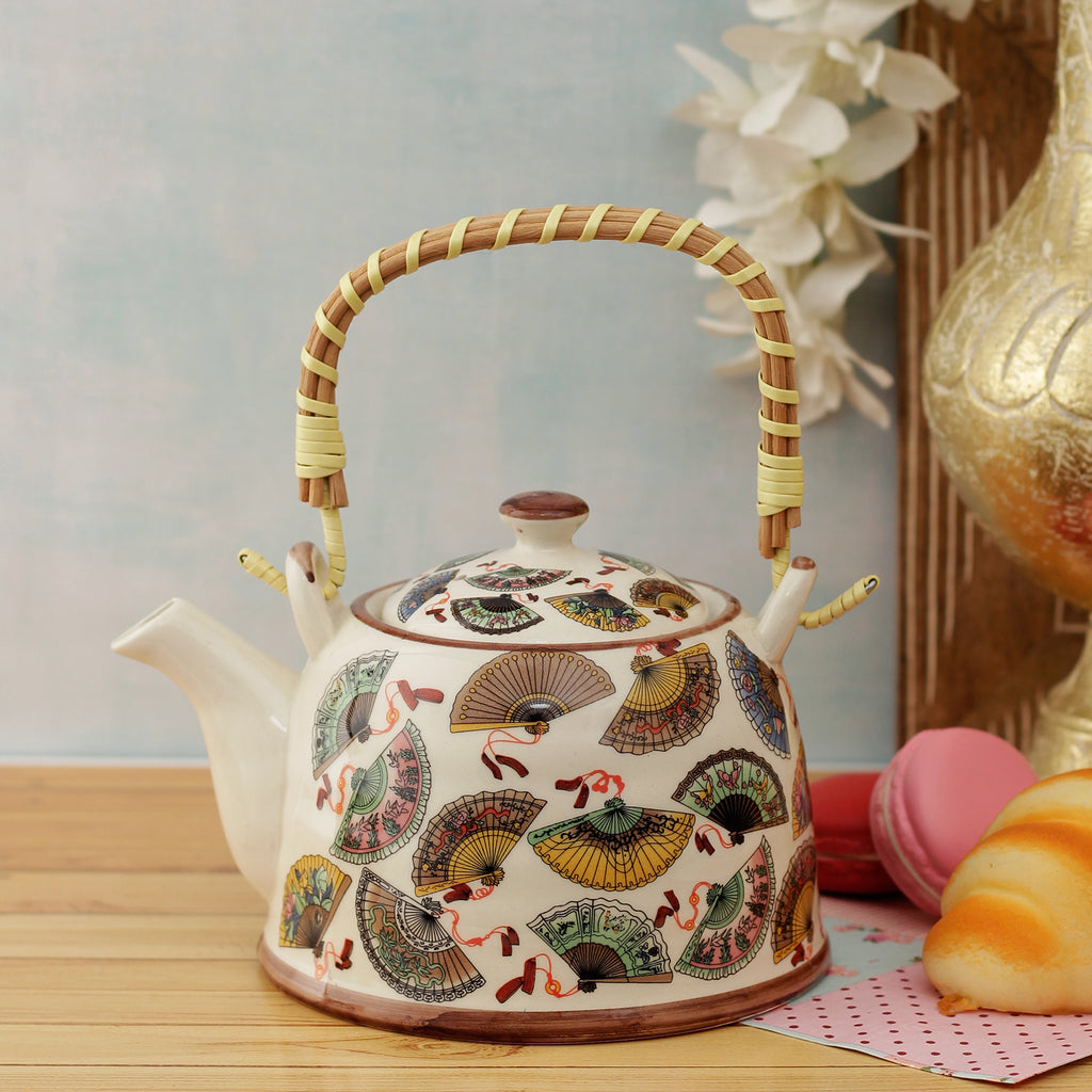 Japanese Fan Ceramic Tea Pot