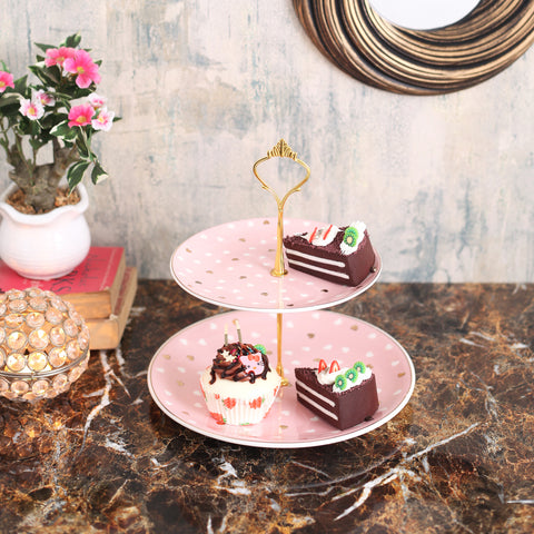 Cute Pink Hearts Designer 2-tier cake stand