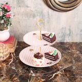 Pretty Pink And White Stripes Designer 2- Tier Cake Stand