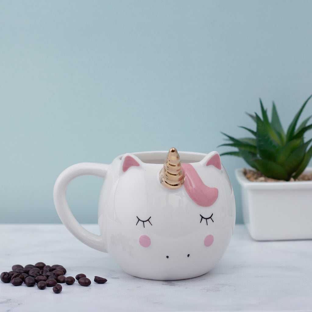 Golden Horned Large Unicorn Mug - White