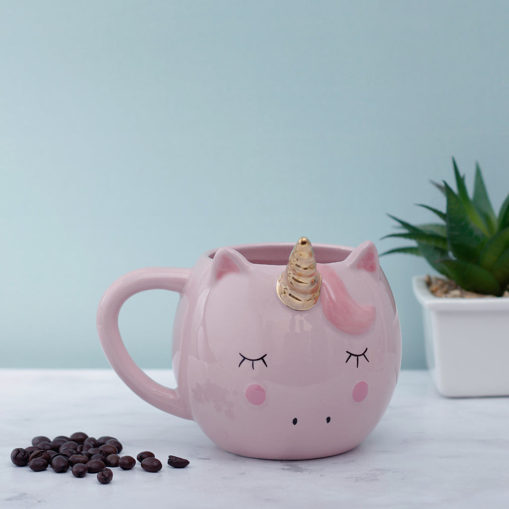 Golden Horned Large Unicorn Mug - Pink
