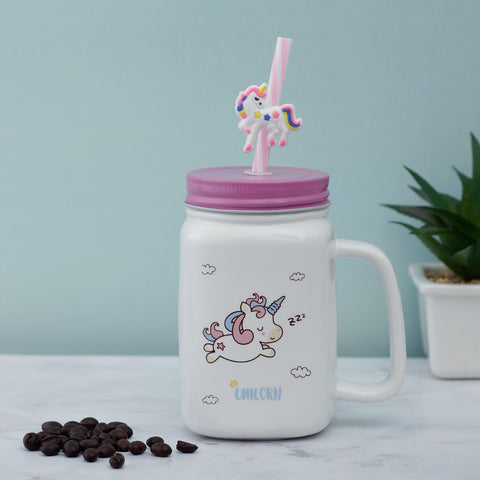 Sleepy Unicorn Ceramic Mason Jar