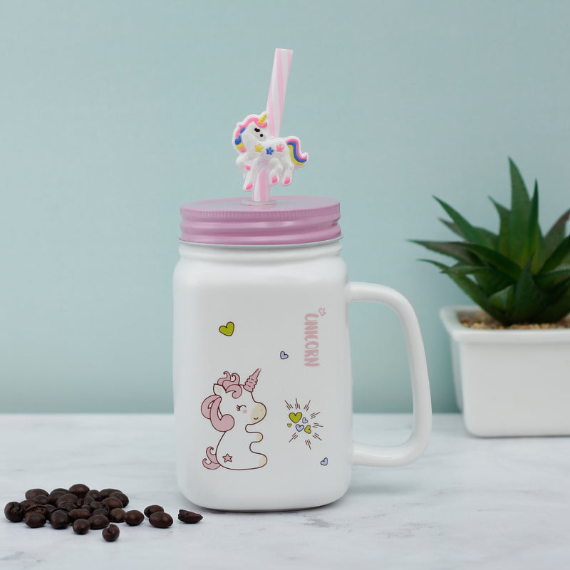 Little Hearts Unicorn Ceramic Mason Jar