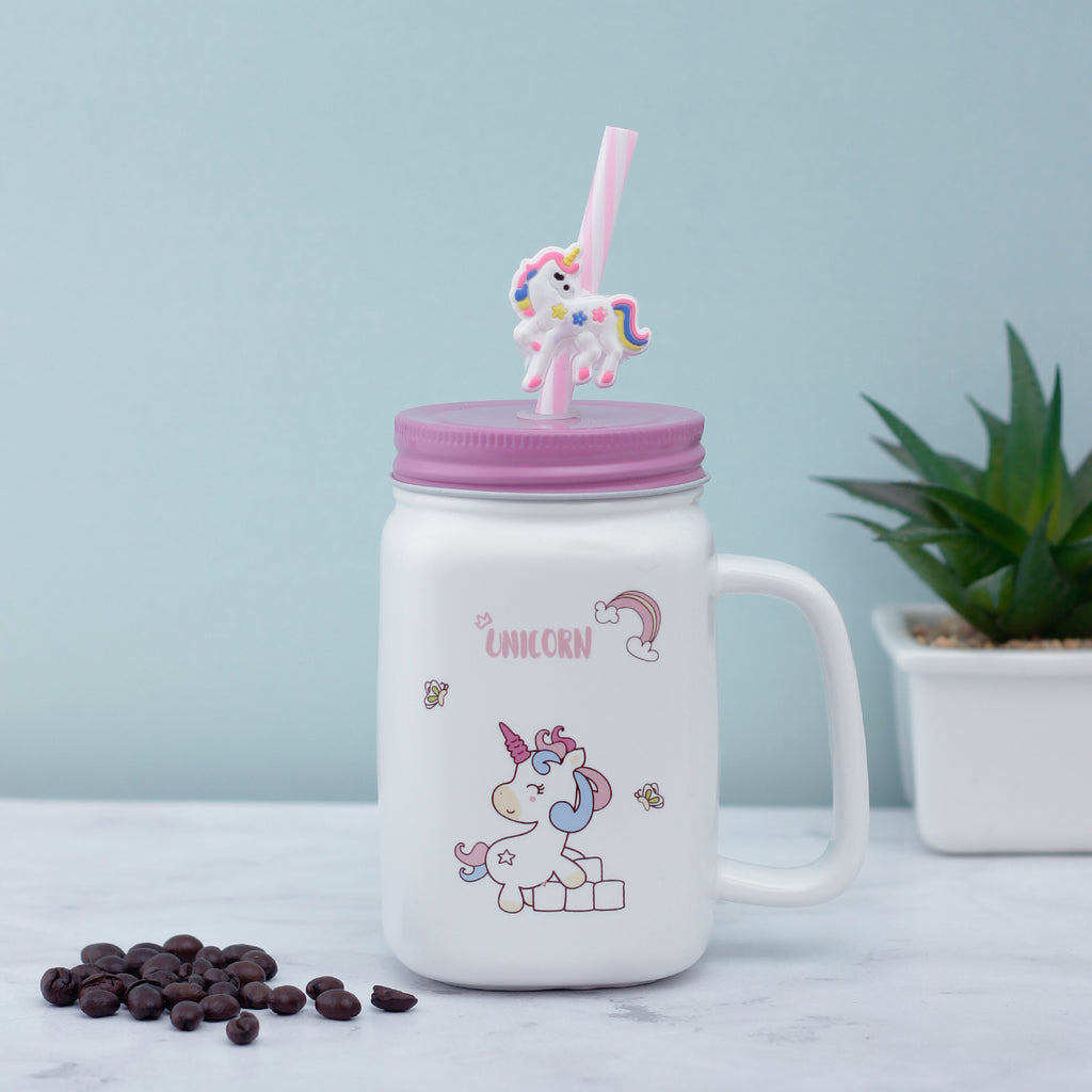 Rainbow Unicorn Ceramic Mason Jar