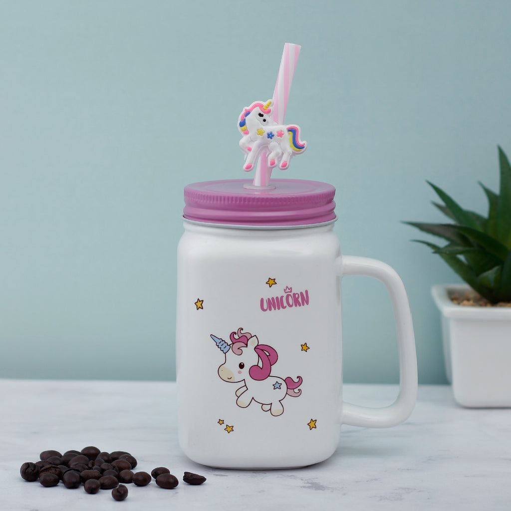 Little Stars Unicorn Ceramic Mason Jar