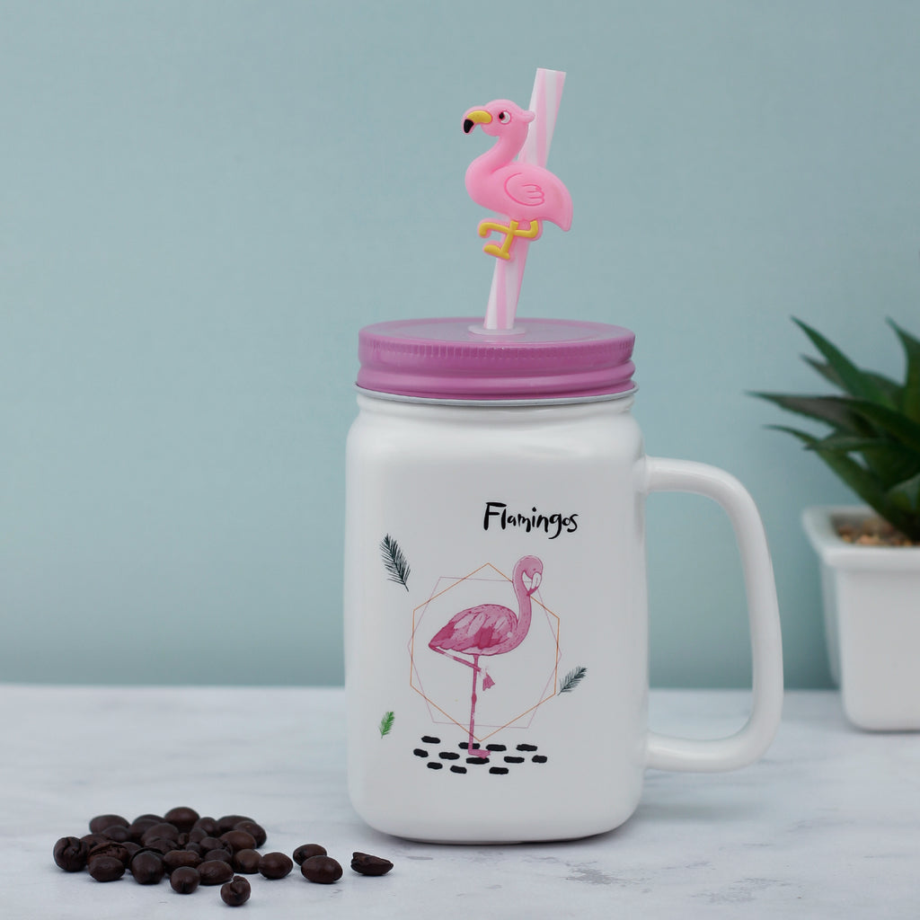 Muddy Flamingo Ceramic Mason Jar