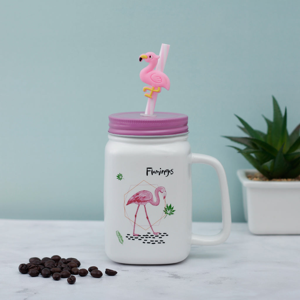 Walking Flamingo Ceramic Mason Jar