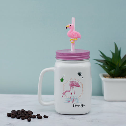 Thirsty Flamingo Ceramic Mason Jar