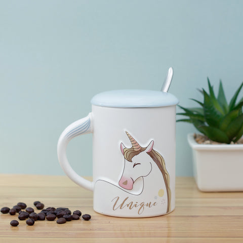 Unique Unicorn Mug with Lid & Spoon