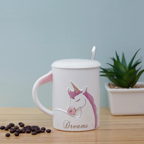 Dreams Unicorn Mug with Lid & Spoon