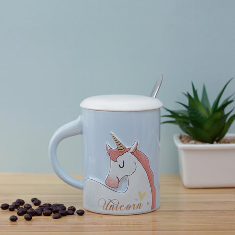 Blue Unicorn Mug with Lid & Spoon