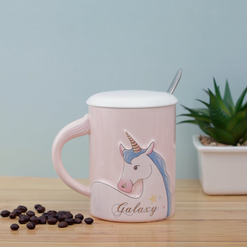 Pink Galaxy Unicorn Mug with Lid & Spoon