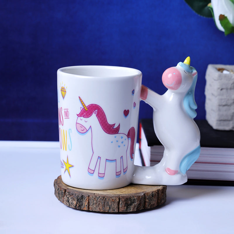 Whimsical Unicorn Handle Mug - Blue