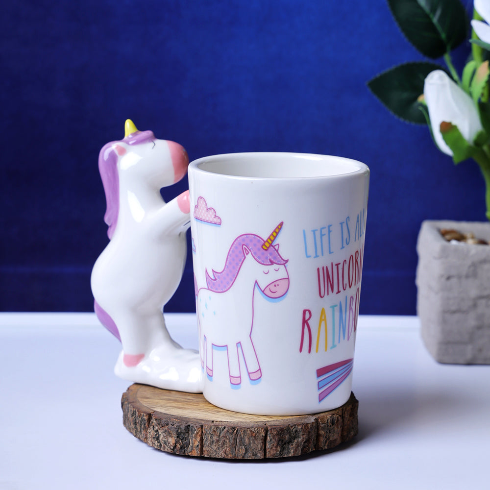 Whimsical Unicorn Handle Mug - Purple